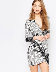 Liquorish Asymetric Wrap Dress In Monochrome Zig Zag Print Black White