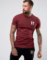 11 Degrees Muscle T Shirt In Burgundy With Logo Red