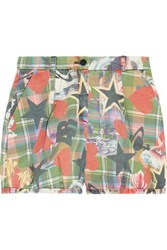 Vivienne Westwood Anglomania Printed Cotton Blend Twill Shorts Red