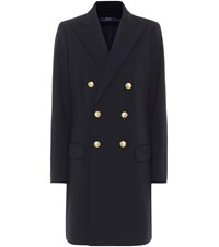 Polo Ralph Lauren Double Breasted Wool Coat Blue