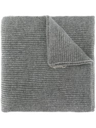 Polo Ralph Lauren Ribbed Logo Scarf Cashmere Wool Grey
