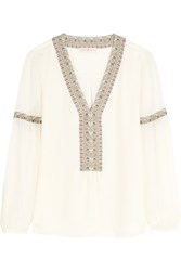 Tory Burch Paisley Trimmed Silk Blouse Ivory