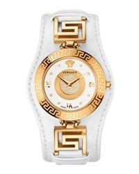 Versace 35Mm V Signature Watch W Pave Diamond Dial And Leather Strap Golden White