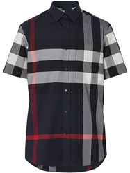 Burberry Checked Shortsleeved Shirt Blue