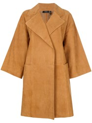 Theory Oversized Cropped Sleeve Coat Brown