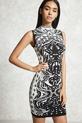 Forever 21 Abstract Print Bodycon Black White