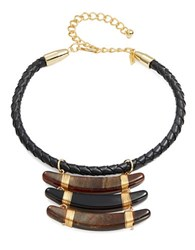 Kenneth Jay Lane Braided Leather Necklace Gold