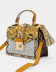Aldo Martis Top Handle Cross Body Bag In Snake Print Multi