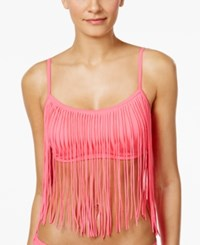 Coco Rave Tatum Fringe Bikini Top Women's Swimsuit Bright Pink