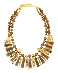 Jose And Maria Barrera Gold Plated And Druzy Spike Necklace