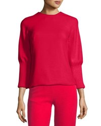 Brandon Maxwell Ribbed Cuff Crepe Blouse Red