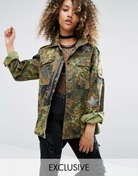 Milk It Vintage Military Jacket With Sequin Patches Khaki Camo Green