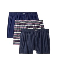 Kenneth Cole Reaction 3 Pack Knit Boxer Navy Aqua Candy Stripe Navy Heather Underwear Multi