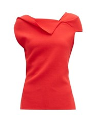 Roland Mouret Raywell Wool Crepe Sleeveless Top Red