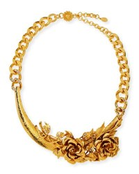 Jose And Maria Barrera 3D Floral Collar Necklace Gold