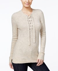 Kensie Lace Up High Low Sweater Heather Bone