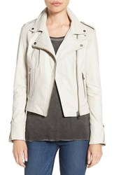 Lamarque Women's Donna Lambskin Leather Moto Jacket Winter White