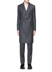 Givenchy Notch Lapel Pinstripe Wool Coat Grey