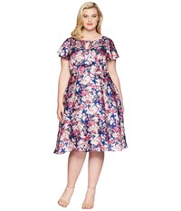 Unique Vintage Plus Size Formosa Dress Navy Pink Floral Purple