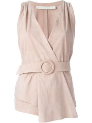 Drome Belted Wrap Waistcoat Pink And Purple