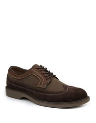 Bass Pearson Suede And Leather Wingtip Oxfords Brown Olive