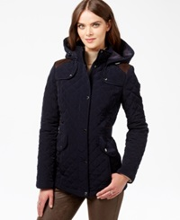 Laundry By Design Hooded Quilted Coat Navy Brown
