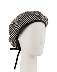 Eric Javits Kate Wool Houndstooth Beret Black Check