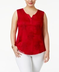 Style And Co Plus Size Embroidered Shell Only At Macy's New Red Amore