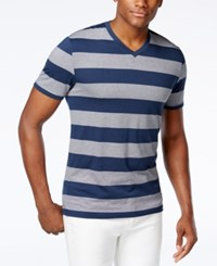 Alfani Men's Striped Slim Fit V Neck T Shirt Only At Macy's Modern Navy Combo