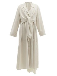 Christophe Lemaire Tie Front Cotton Trench Coat Light Grey