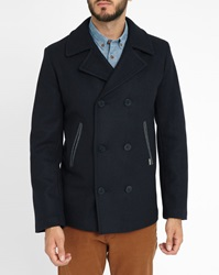 Armor Lux Navy Grey Contrasting Collar Wool Pea Jacket