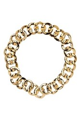 Nadri Hammered Chain Link Collar Necklace Metallic
