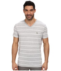 Lacoste Jersey Short Sleeve V Neck Striped Tee Shirt Silver Chine White Men's T Shirt Gray