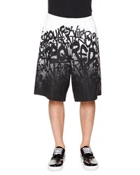 Dsquared2 Graffiti Print Wide Leg Shorts White Black