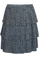 Michael Michael Kors Tiered Metallic Printed Georgette Skirt Blue