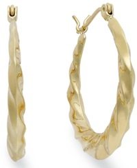 Macy's 10K Gold Earrings Swirl Hoop Earrings