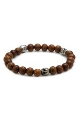 Men's Cufflinks Inc. Skull Bead Bracelet Brown
