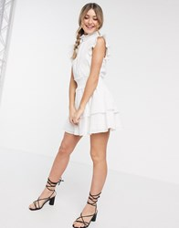 Cleobella Versailles High Neck Frilly Mini Dress In White