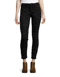 Buffalo David Bitton Bead Embellished Mid Rise Skinny Jeans Black Rinse