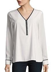 Calvin Klein Long Sleeve Half Zip Blouse Cream
