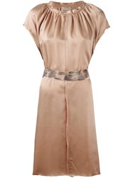 Nude Pleated Trim Belted Dress Nude Neutrals