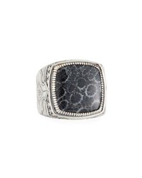 Konstantino Heonos Men's Square Black Coral Ring Silver