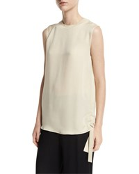 Vince Ruched Tie Side Silk Tank White