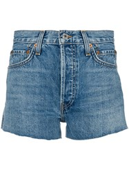 Re Done High Waisted Denim Shorts Blue