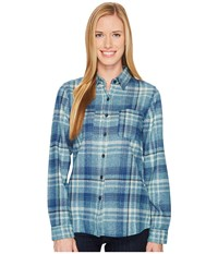 The North Face Long Sleeve Willow Creek Flannel Egyptian Blue Plaid Women's Long Sleeve Button Up