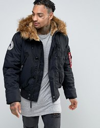 Alpha Industries Bomber Jacket With Faux Fur Trim In Regular Fit In Black Black