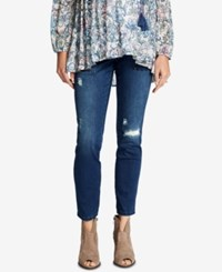 Motherhood Maternity Distressed Dark Wash Ankle Jeans