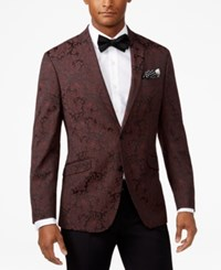 Kenneth Cole Reaction Men's Slim Fit Burgundy Paisley Dinner Jacket