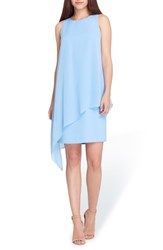 Tahari Sleeveless Chiffon Overlay Shift Dress Cornflower Blue