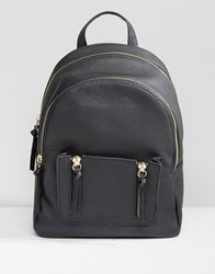 New Look Mini Zip Pocket Backpack Black
